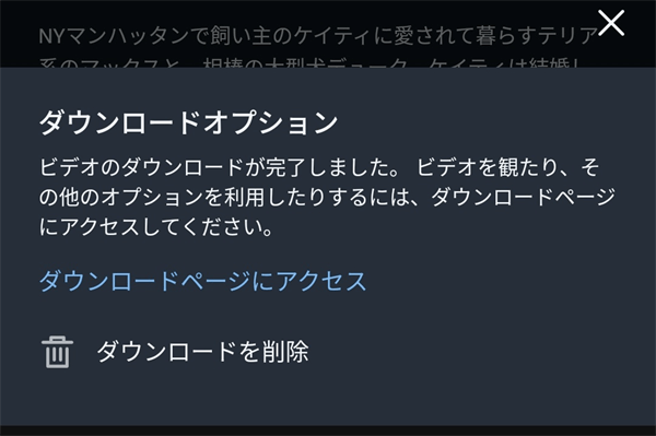 Amazonプライムビデオダウンロード完了